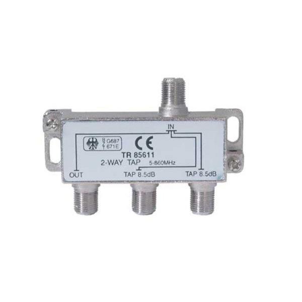Serie F repartidor interior 2 salidas 12,5 dB 5 a 1000 MHz a 85 dB A-Quality