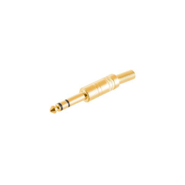 Conector 6,3mm jack estéreo metálico chapado en oro macho