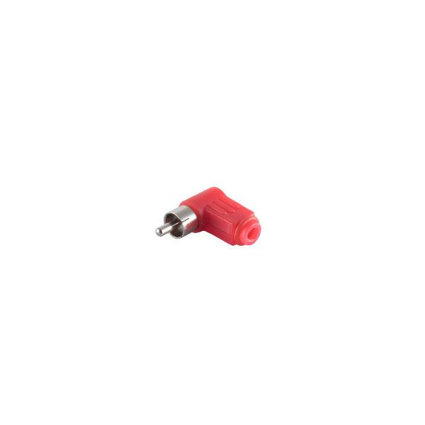 Conector RCA acodado rojo macho